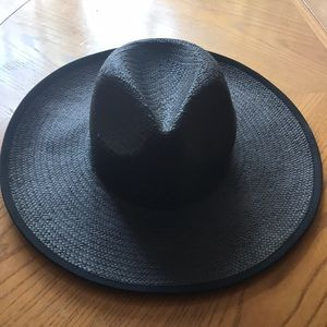 Madewell Straw Hat Handcrafted Black Packable S-M